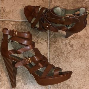 G by Guess Cognac Strappy Heel Sandals